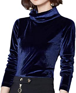 Macondoo Womens Long Sleeve Velvet Turtle-Neck Plain Blouse T Shirts