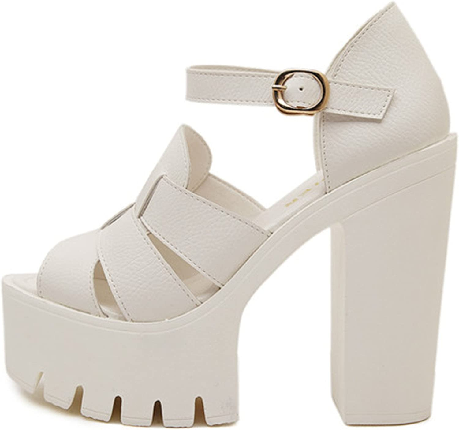 Terrcmaily Fashion Summer Wedges Platform Sandals Women Black and White Open Toe high Heels Sandals