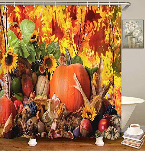 Britimes Duschvorhang Thanksgiving HD Herbst Schwarz Herbst Essen Halloween Happy Harvest Wasserdicht Polyestergewebe Badezimmer Dekor Bad 183 x 183 cm Set mit Haken