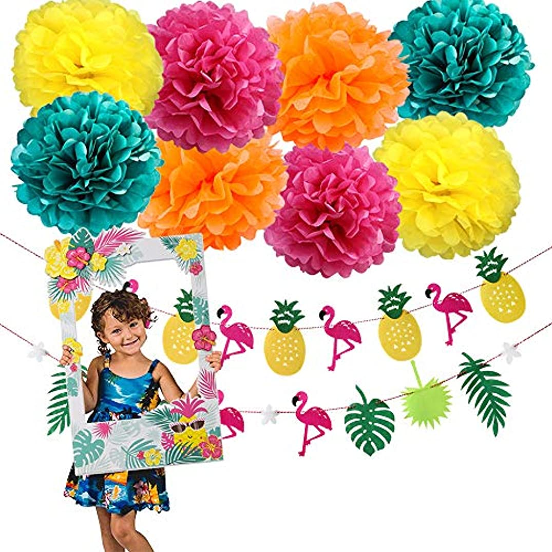 Wcaro Luau Party Decorations Hawaiian Party Decorations Felt Tropical Leaves Flamingo Pineapple Banner Hawaiian Luau Selfie Frame Photo Booth Props Tissue Pom Poms Moana Party Decorations Summer Party