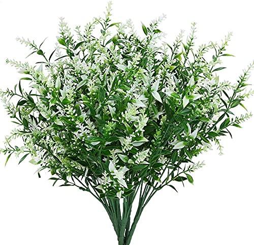 Künstliche Blumen, Blumenkunst, Getrocknete Blumenstrauß, Künstliche Lavendel Blumen Outdoor UV Beständige Gefälschte Blumen Keine Fade Faux Kunststoffpflanzen Garten Verandafenster Kasten Dekorieren