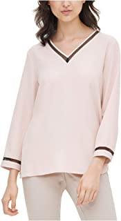 CALVIN KLEIN Womens Pink Solid Long Sleeve V Neck Blouse Top AU Size:18