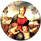 Wandbild Raffael Madonna del cardellino - 60 cm rund - Alte Meister Berühmte Gemälde Leinwandbild Kunstdruck Bild auf Leinwand