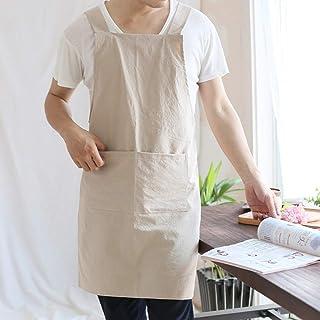 YXDZ YXDZ Einfache Gürtelfreie Schulter Im Japanischen Stil Aus Retro-Baumwolle Und Antifouling-Schürze Für Herren Im Küchen-Laden Mit Khaki 80  92Cm