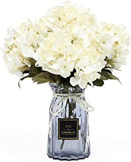 UltraOutlet 4 Packs White Silk Hydrangea Flowers with Vase DIY Artificial Hydrangea Flowers Bouquets Arrangement Centerpiece for Weddings, Baby Showers, Birthday Parties, Home Office Decorations