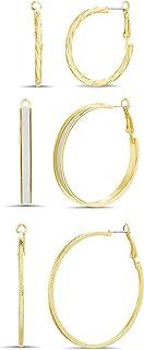 Steve Madden 35mm 45mm 50mm Yellow Textured Glitter Hoop Earrings for Women 3 Pair Set