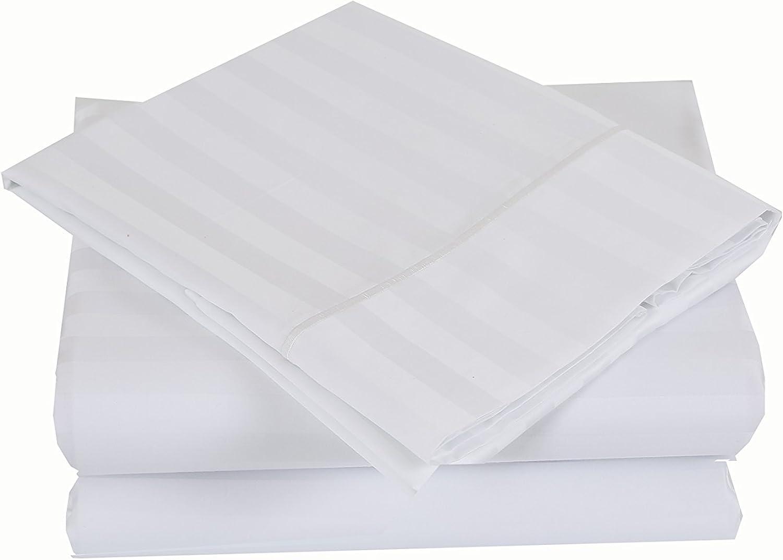 500 Thread Count 100% Cotton Damask Stripe Sheet Set (King Sheet Set, White)