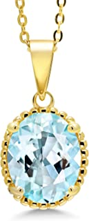 4.50 Ct Oval Sky Blue Topaz 18K Yellow Gold Plated Silver Pendant With Chain