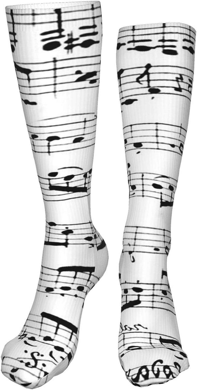 Music Notes Women Premium High Socks, Stocking High Leg Warmer Sockings Crew Sock For Daily And Work