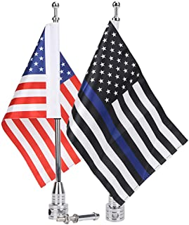 E-Most Motorcicle Flag and Flag Mount 6 x 9 Inch Thin Blue Line Flag with Flag Holder 1/2`` Flagpole Brackets Fit for Harley Honda Goldwing CB VTX CBR Suzuki Yamaha