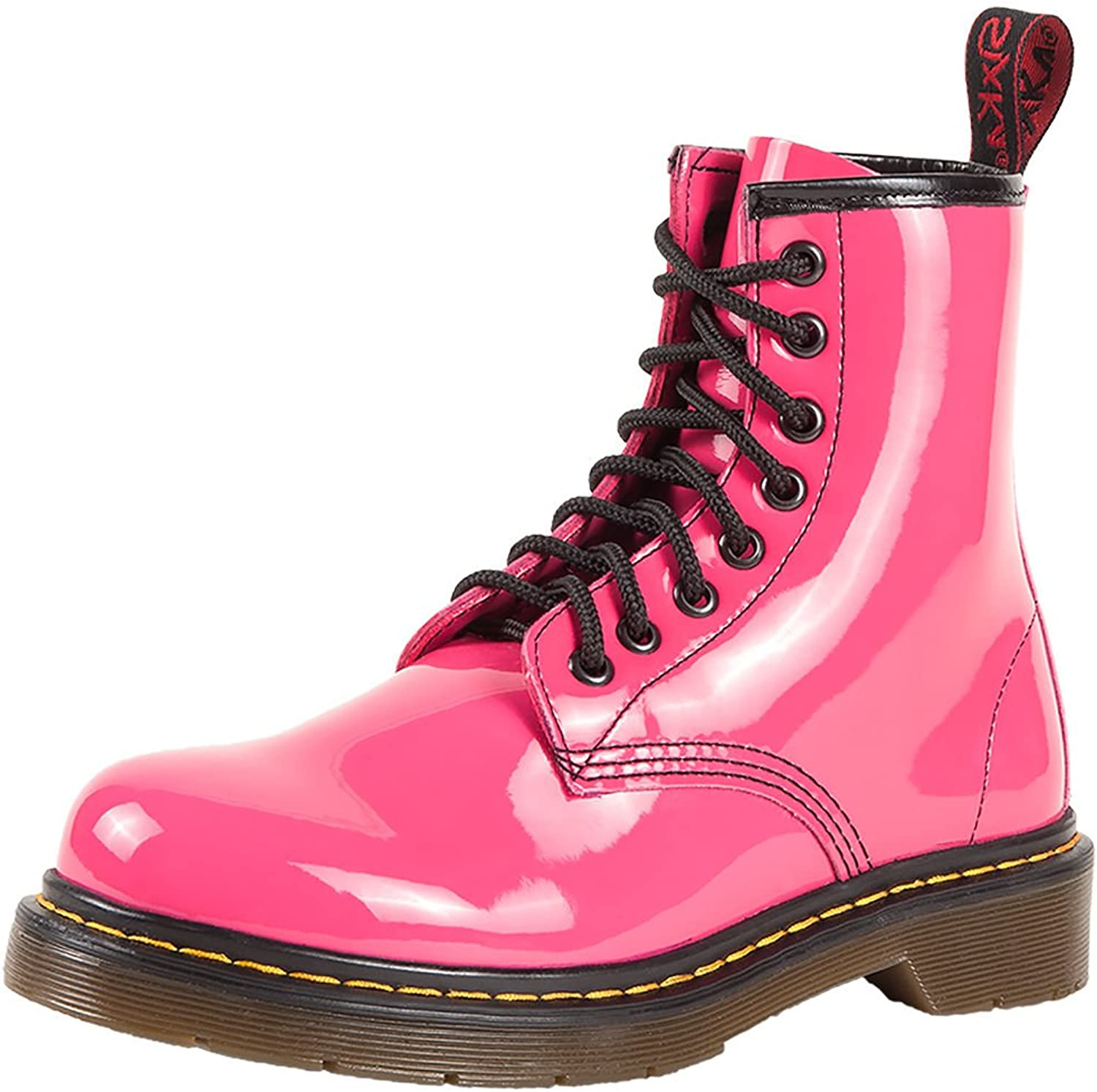 SK7 Women's Hot Stylish Coventry Gloss Leather Fashion Ankle Boots pink Pink - 9