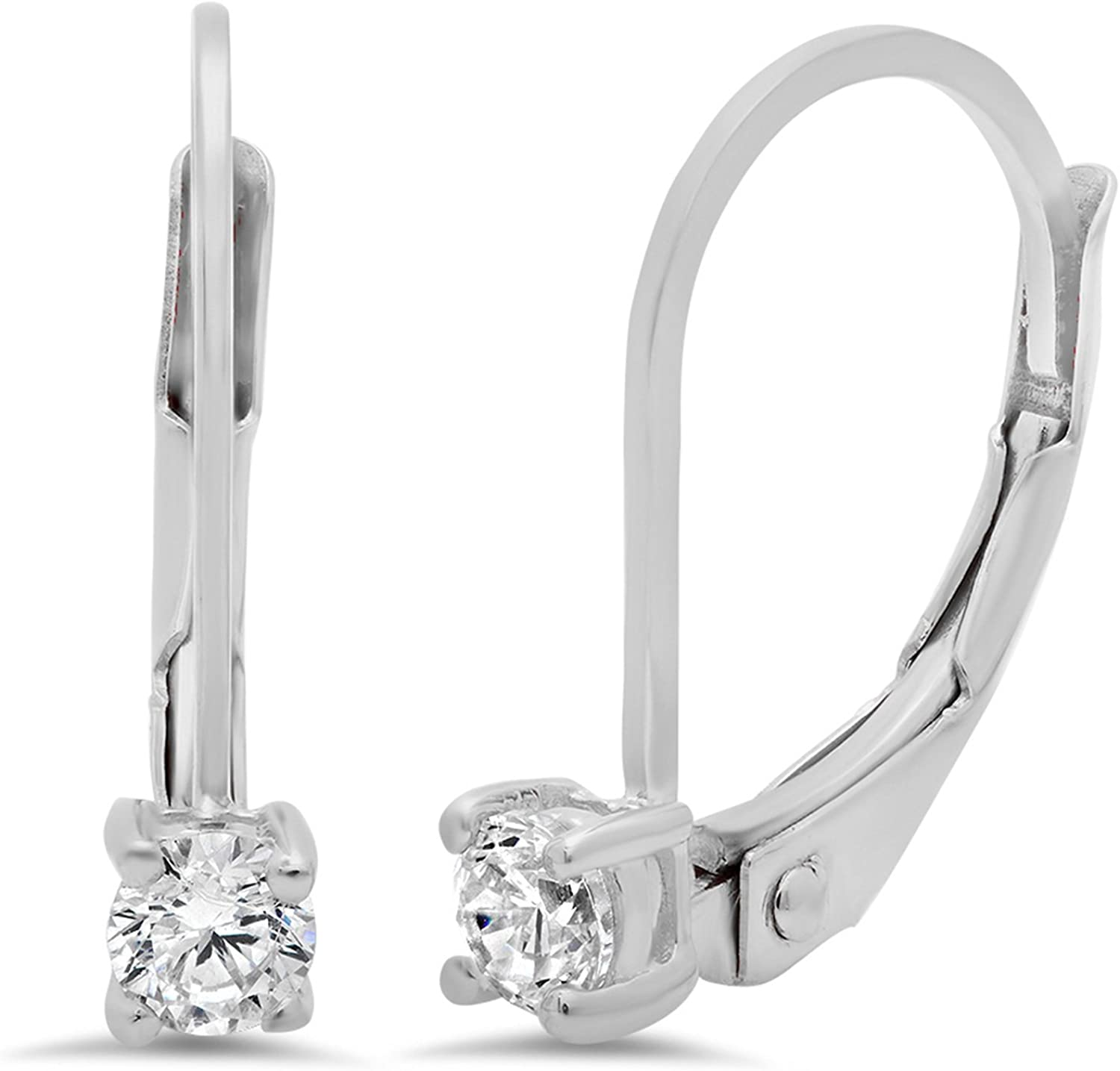 0.1ct Brilliant Round Cut Solitaire Genuine White Created Sapphire Unisex Designer Lever back Drop Dangle Earrings Solid 14k White Back conflict free Jewelry