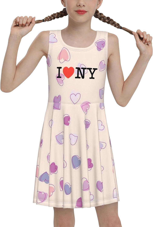 I Love Ny Sleeveless Dress for Girls Casual Printed Jumper Skirt