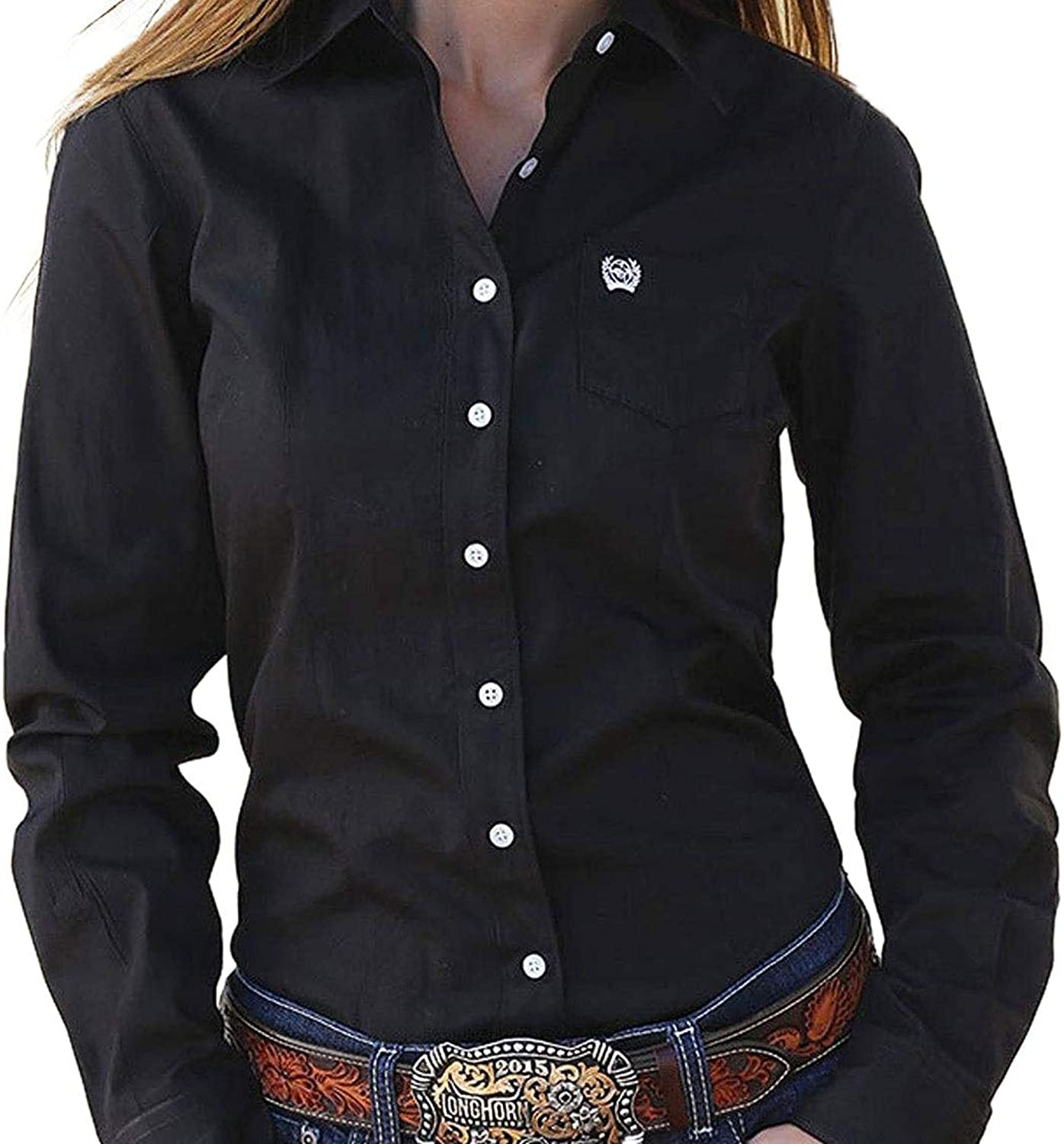 Cinch Western Shirt Womens L S Weave Button Pocket XS Black MSW9164027