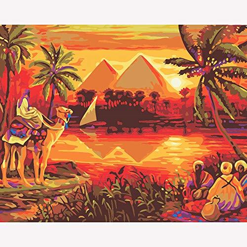 5D DIY diamantschilderij DIY 5D diamant schilderij van aantal kit voor volwassenen Egyptische piramide en camel ronde volledige boor mozaïek kruissteek borduurverpakking handwerk voor woonkamer decoratie 40×50cm No frame