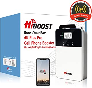 HiBoost Signal Booster Cell Booster Improve Phone Signal for Home and Office up to 3,000-6,000 Sq.Ft- Signal Extender Cellular Booster Compatible with AT&T, T-Mobile, Verizon, Sprint, and US Cellular