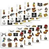 Konsait Piraten Tattoo Set, temporäre Kinder Tattoos für Piraten Party Kinder Spielen Mitgebsel Kindergeburtstag geschenktüten (96Tattoos)