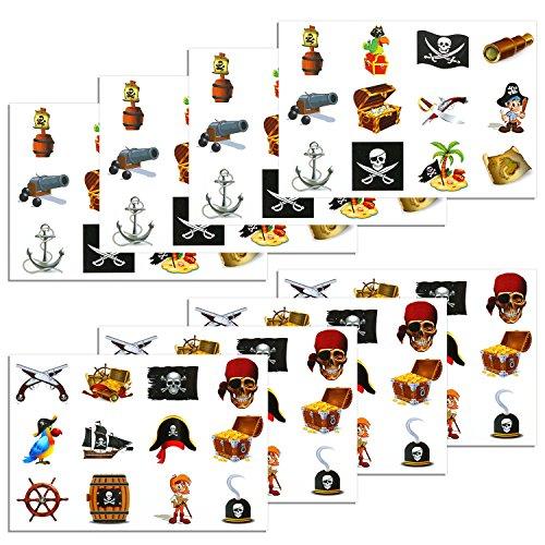 Konsait Pirata Tatuaje para niños, 96 Piezas Falso Tatuajes
