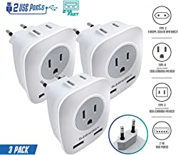 European Power Adapter (3 Pack) - w/ 2 USB Ports & 2 AC Outlets - USA to EU Outlet Plug - US to Europe Plug Adapter - Electrical Charger Travel Adapters for Europe - for Type F, E, C Charging