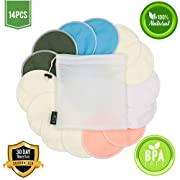 Nursing Pads for Breastfeeding (14 Pack) - Organic Bamboo Reusable Breast Pads - Soft & Super Absorbent - Great Baby Shower Gifts - 5 Regular and 2 Pairs of Additional Overnight Pads Plus Laundry Bag