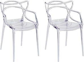 同色2脚セット ジェネリックチェア 透明 高級 イス デザイナーズチェア マスターズチェア ダイニングチェア スネーキークリアシリーズ (クリアホワイト)