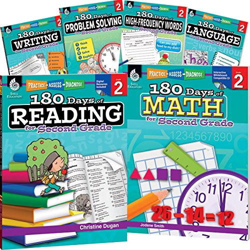 180 Days of Second Grade Practice, 2nd Grade Workbook Set for Kids Ages 6-8, Includes 6 Assorted Second Grade Workbooks to Practice Math, Reading, ... and Sight Word Skills (180 Days of Practice)