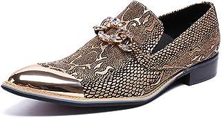 Rui Landed ファッションオックスフォード男性のためのカジュアルシューズスリップオンスタイル高品質本革ホットスタンプ模造ダイヤモンドの装飾金属尖ったつま先 (Color : 黄, サイズ : 24 CM)