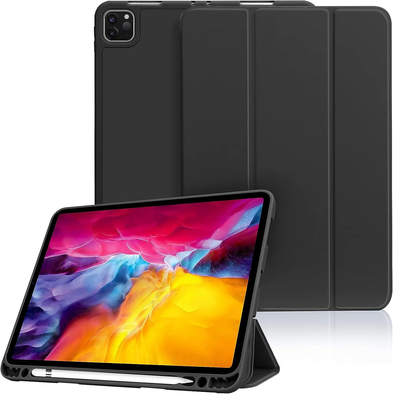 FYY Case for iPad Pro 11 2020 & 2018, [Support 2nd Gen Apple Pencil Charging][Auto Wake/Sleep] Slim Stand Smart Protective Case with Pencil Holder for iPad Pro 11 2nd Gen 2020 & 1st Gen 2018 Black