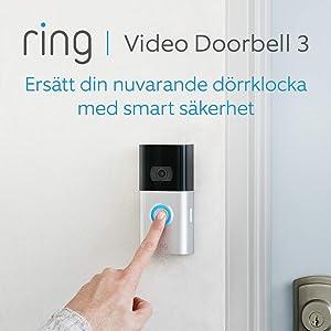 Ring Video Doorbell 3   HD-video, förbättrad rörelsedetektion och enkel installation   30 dagars kostnadsfri provperiod på Ring Protect Plan ingår