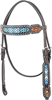 Western Rawhide Bead Browband Headstall-Turquoise
