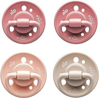 nip Bio Baby Schnuller Cherry Green kirschform aus Naturkautschuk, COLOURS Rose/Blush/Sand - Empfohlen ab 0-6 Monaten - Größe 1: 4 Stück