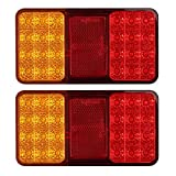 Justech 2 x Rear Brake Lights Tail lights 12V Universal for Trailer Camper Van Truck Lorry Tractor (24 LEDS)