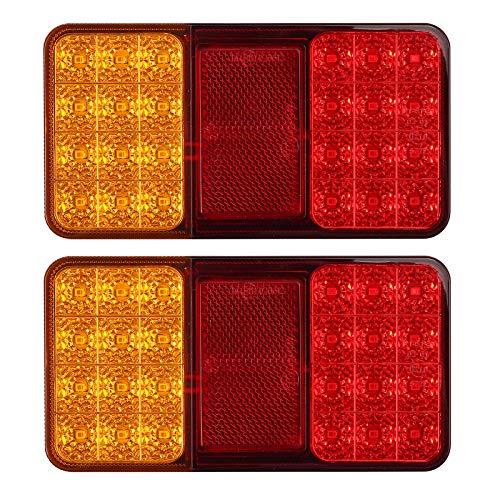 Justech 2pcs Feux Arrières LED E-Marqué Clignotant de Position Stationnement avec 2*24 LEDs Feu Position LED Étanche Feux de Frein Arrière 12V Universel pour Remorque Véhicule Caravan Camion...