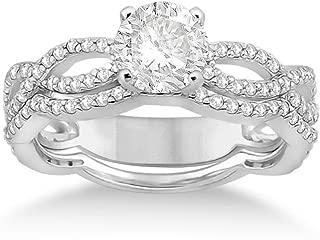 Twisted Semi-Eternity Round Diamond Engagement Ring with Wedding Band Palladium Bridal Set (0.65ct)