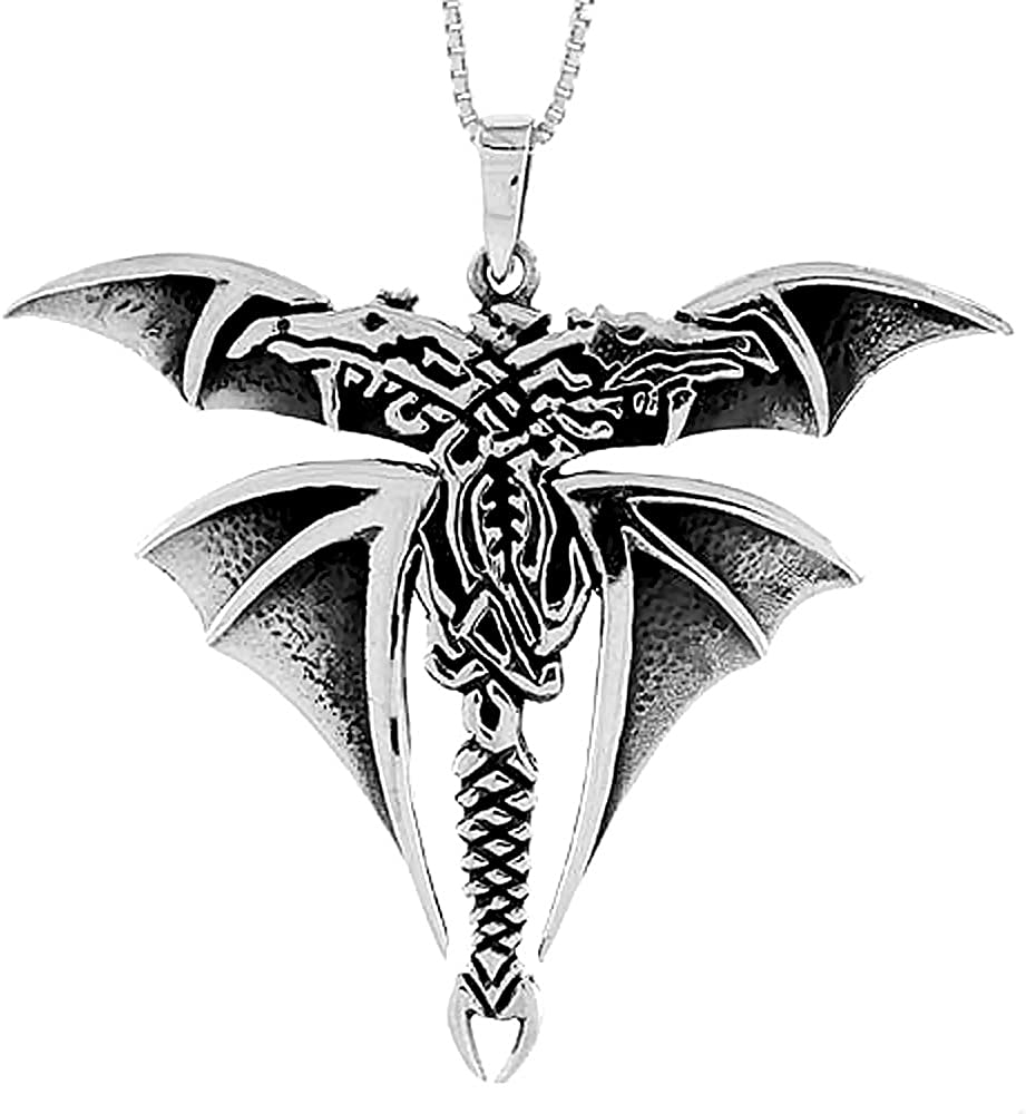 Sterling Silver Celtic Dragon Pendant inch 1 8 National products Tall 2 Opening large release sale