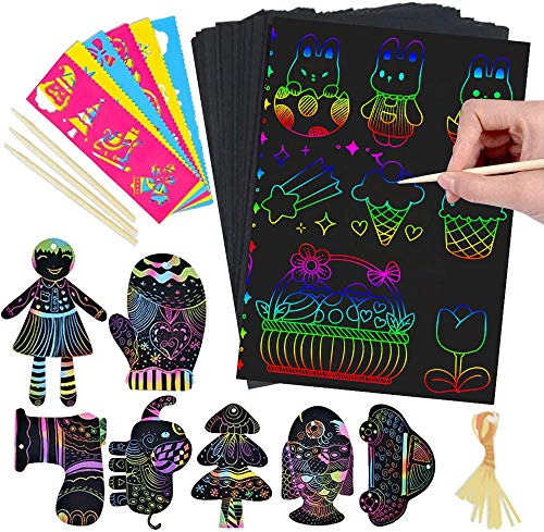 Here Fashion 5.2'x7.6' Rainbow Scratch Paper Art Kit for Toddler - 107 Pcs Craft Art Pack Magic Scratch Off Arts and Crafts with Wooden Styluses, Drawing Stencils Birthday Party Gifts