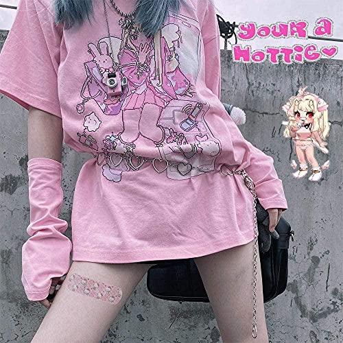 Cyuang Summer Goth Camiseta de Mujer Sexy Estética Suelta Camiseta de Las...
