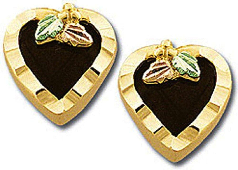 Landstroms 10k Black Hills Gold Heart Earrings with Onyx Hearts - G L01688