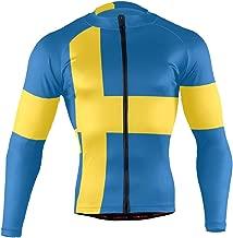 Sweden Flag Men's Cycling Jersey Long Sleeve Bike Jacket Biking Bicycle Jersey Shirt