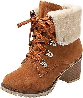 Damen Stiefeletten gefüttert Glitzer Boots Stiefel Schnürer Worker Winter ST035