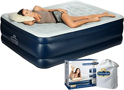 Forbidden Road Queen Size Air Mattress,  Portable Inflatable Double Airbed with Built-in Electric Pump,  Durable Firm Blow Up Raised Bed with Storage Bag Easy Setup