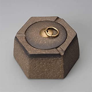 Ashtray, Hexagonal Ashtray Ceramic Create Windproof Bedroom Unique Gifts or Home Decorative Art LCNINGYHG (Color : Yellow),Size:Black,Colour:Black (Color : Yellow, Size : Yellow)