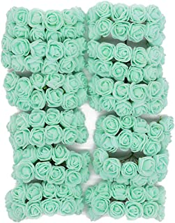 Queenbox 144Pcs Artificial Flower Rose, PE Foam Rose Head Fake Flower Rose for DIY Wedding Bouquets Bridal Shower Party Home Decor, Mint Green