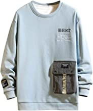 Easytoy Men's Long Sleeve Crewneck Color Block Splicing Suede Pullover Athletic Jogger Fitness Workout Gym Sweatshirts