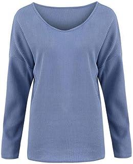 VJGOAL Mujer Jerséis Otoño Invierno Moda Casual Suéter sólido Elegante Sexy Cuello en V Jersey Suelto Manga Larga Camiseta...
