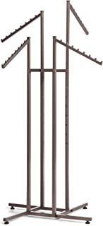 SSWBasics 4-Way Clothing Rack with Slant Arms - Boutique Raw Steel