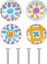 VOSAREA 4Pcs Keramische Lade Knop Pull Handvat Enkel Gat Meubels Trekt Voor Borst Kast Kledingkast Dresser Deur