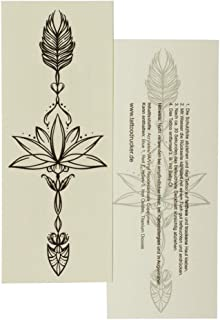 2 x Lotus Pfeil Tattoo - Schwarze Lotusblüte mit Pfeil - Te