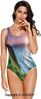 SCOCICI Swimsuit Bikini Colored Abstract Elephants Polka Dots Chevron Motifs Su