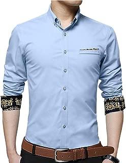 Men's Long Short Sleeve Casual Slim Fit Button Down Dress Cotton Printed Shirt